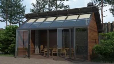 Панорамная беседка со стеклянной крышей