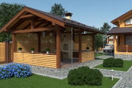 Прямоугольная беседка для дачи из клееного бруса с двухскатной крышей