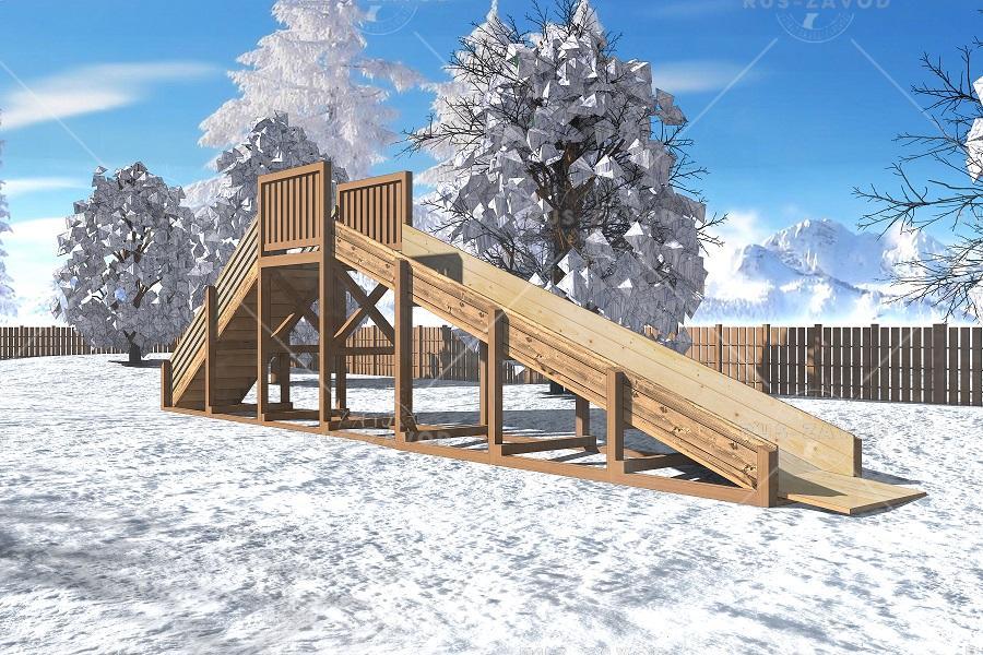 """Зимняя деревянная горка """"Снежинка"""" 2м"""