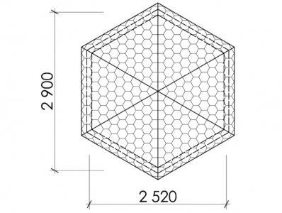 Беседка шестигранная Т13 - 2,9х2,5 м