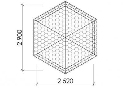 Беседка шестигранная Т9 - 2,9х2,5 м